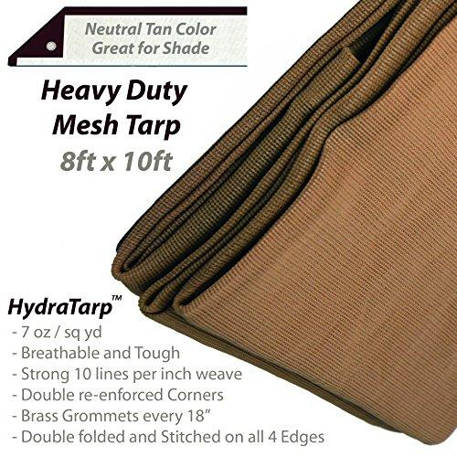 (HydraTarp 8 Ft. X 10 Ft. Heavy Duty 7oz Breathable Mesh Tarp - 7 oz per/sq yd weight - Neutral Tan Color )