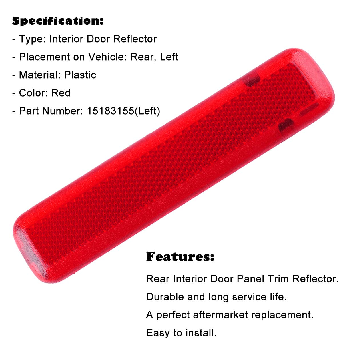 Wadoy Door Panel Reflector Driver Rear for 03-07 Chevy GMC Trucks SUVs Left Trim Red 15183155 74367 Wadoy 15183155