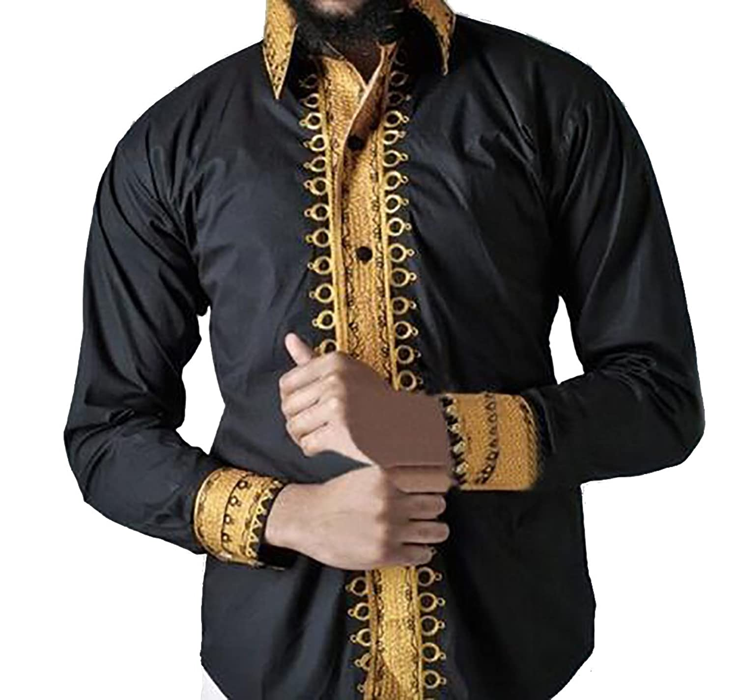 MK988 Men African Print Dashiki Long Sleeve Buttons Vintage T-Shirt