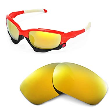 fe440d1971 Walleva Replacement Lenses for Oakley Racing Jacket Sunglasses - Multiple  Options (24K Gold Mirror Coated