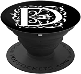 PopSockets Grip Letter D White Initial D On Black Background - PopSockets Grip and Stand for Phones and Tablets