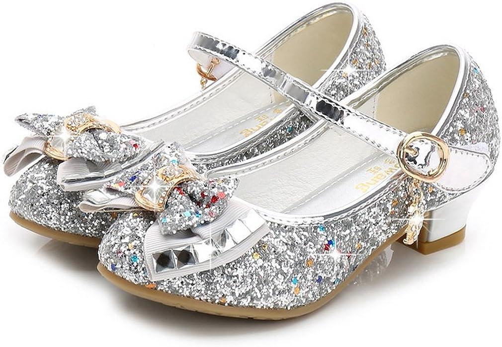 La Vogue Kids Girls Mary Jane Glitter High Heels Princess Dress Shoes Silver 10M
