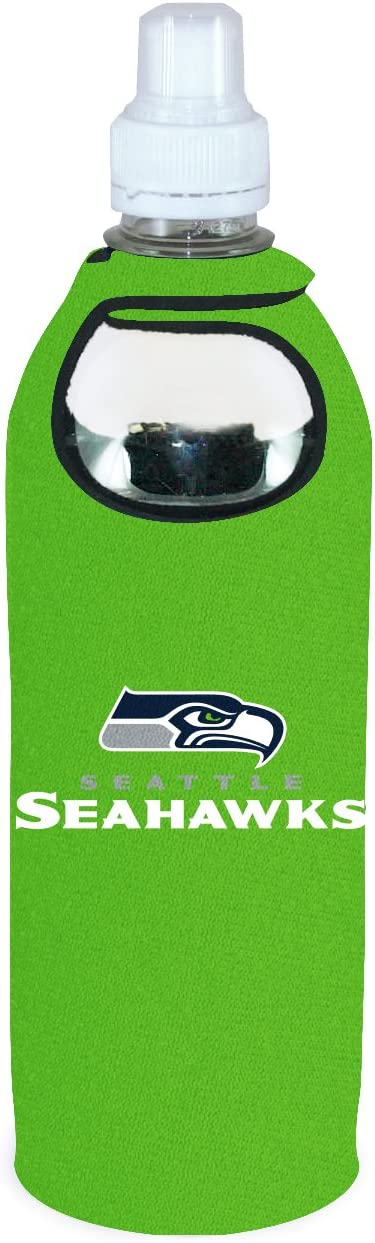 Seattle Seahawks 1/2 Liter Water Soda Bottle Beverage Insulator Holder Cooler with Clip Football