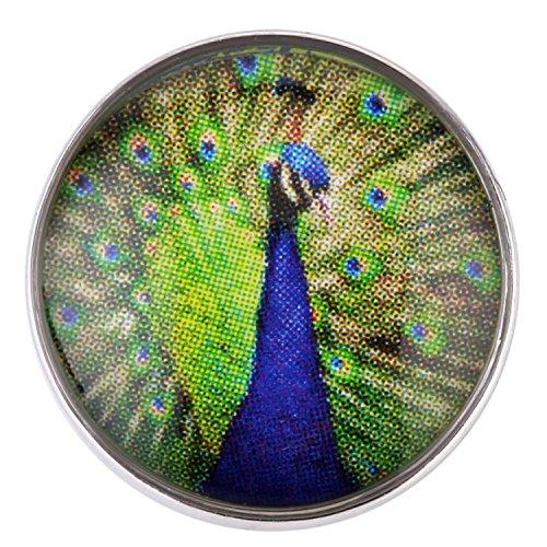 Morella ® pour petit click-button lot de 3 boutons pression pour bijou femme motif paon 12 mm avec pierres de zircone