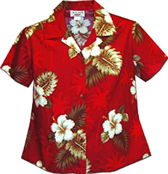 67bc9383 Image Unavailable. Image not available for. Color: Ladies Aloha Shirts  Hibiscus Island Red ...