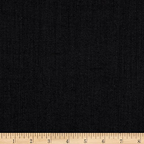 Fabric Mart 0546741 Twill Super 100 Suiting Black/Gray Fabric by The Yard