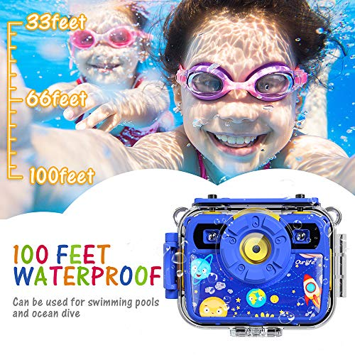 Ourlife Kids Camera, Selfie Waterproof Action Cameras Toys for Boys Age 6-15, 1080P 8MP 2.4 Inch Large Screen Cam with…