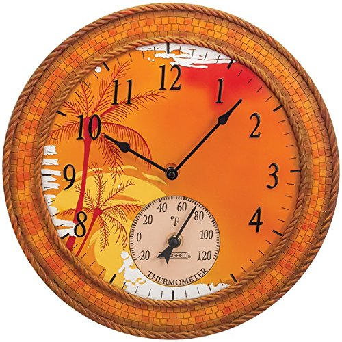 SPRINGFIELD 92671 14'' Poly Resin Clock with Thermometer (Mosaic Palms)