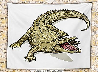 Reptile Decor Fleece Throw Blanket Illustration of Exotic Wild Crocodile Hungry Mouth Predator Aquatic Safari Jaws Home Throw