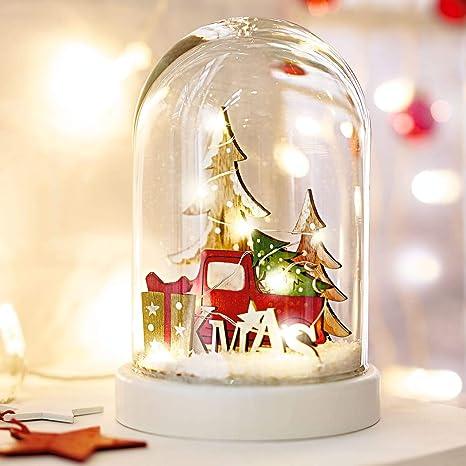 Pureday Decoraciones de Navidad-cúpula de Cristal de Navidad-decoración de Madera con Vidrio Bell-LED Iluminado: Amazon.es: Hogar