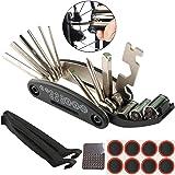 FULARR 16 en 1 Mini Herramienta Reparación Bicicleta, Kit Reparación Bicicletas Acero Inoxidable, Herramienta Bici Multifunción Portátil Compacta, Kit Herramientas Mantenimiento Plegables –– Negro