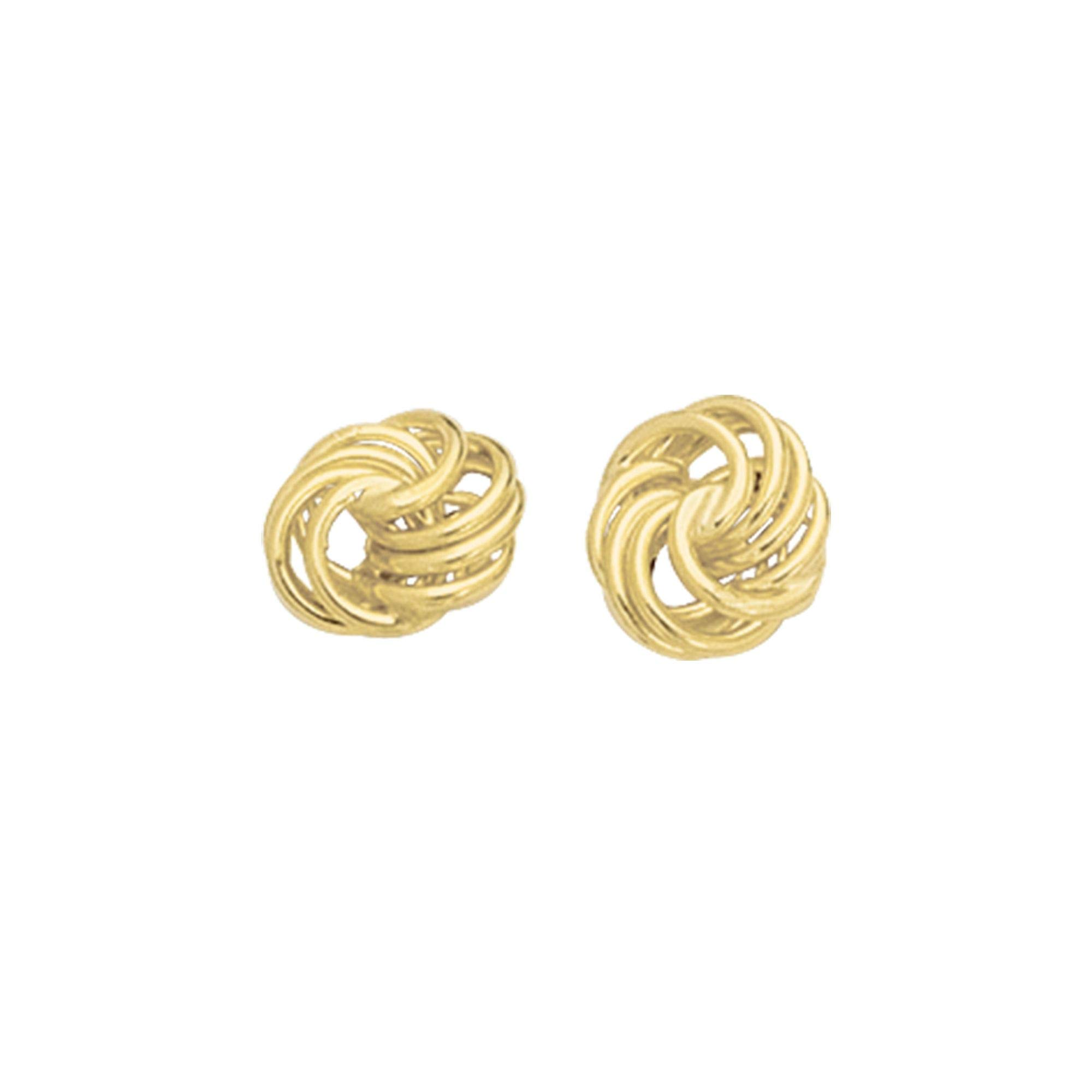 14K Yellow Gold Shiny Textured 4 Row Love Knot Earrings by IcedTime
