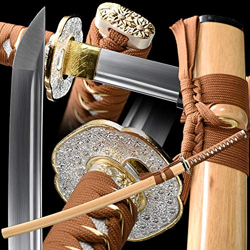 Full Handmade Katana,Japanese Samurai Sword,Full Tang,Battle Ready Katana,1095/1060 High Carbon Steel,Functional,Razor Sharp