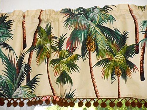 Hawaiian Tropical Cotton Barkcloth Fabric VALANCE /Vintage Pom-Poms ~Palm Trees~