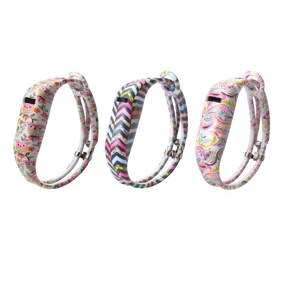 ult-uniteバンドfor Fitbit Flex、3pcs交換用シリコンブレスレットリストバンドアクセサリー、Hollowed & Watch留め金タイプ、ファッションバンド調整可能な金属クラスプ付き、さまざまなカラフルなパターン B01M03FMYD Cute Owles/Colorful Stripes/Tatoo Flowers
