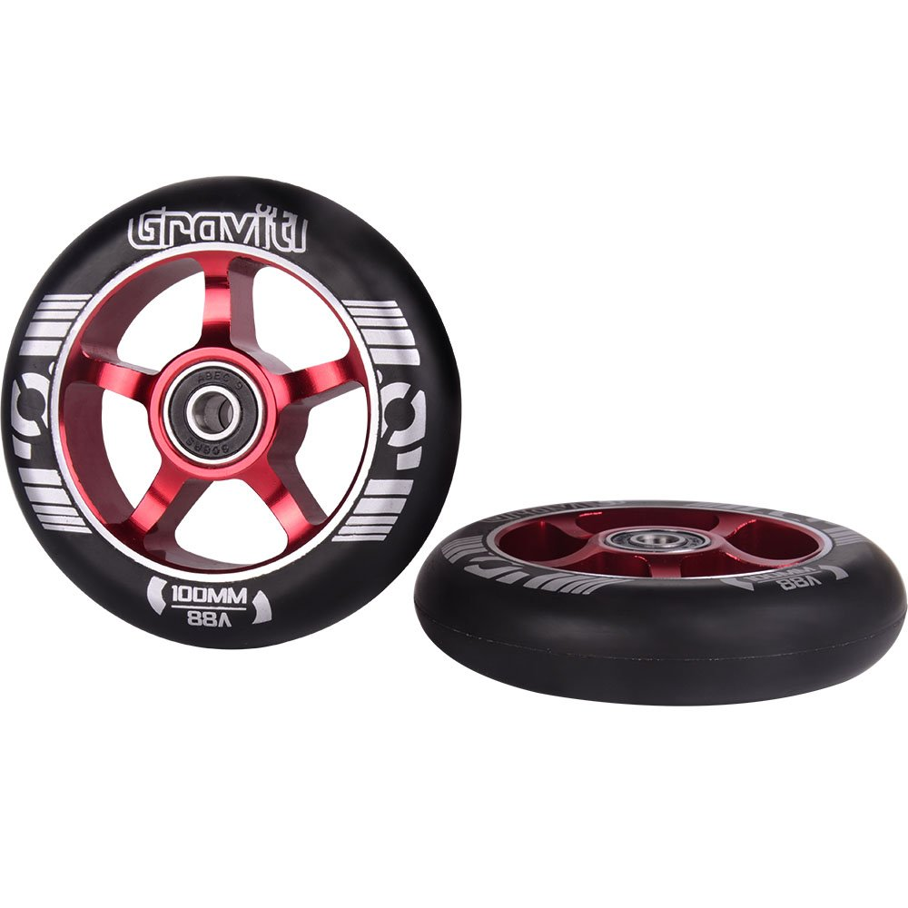 GRAVITI One Pair 100mm Pro Stunt Scooter Wheels Metal Core with ABEC-9 Bearings 2pcs
