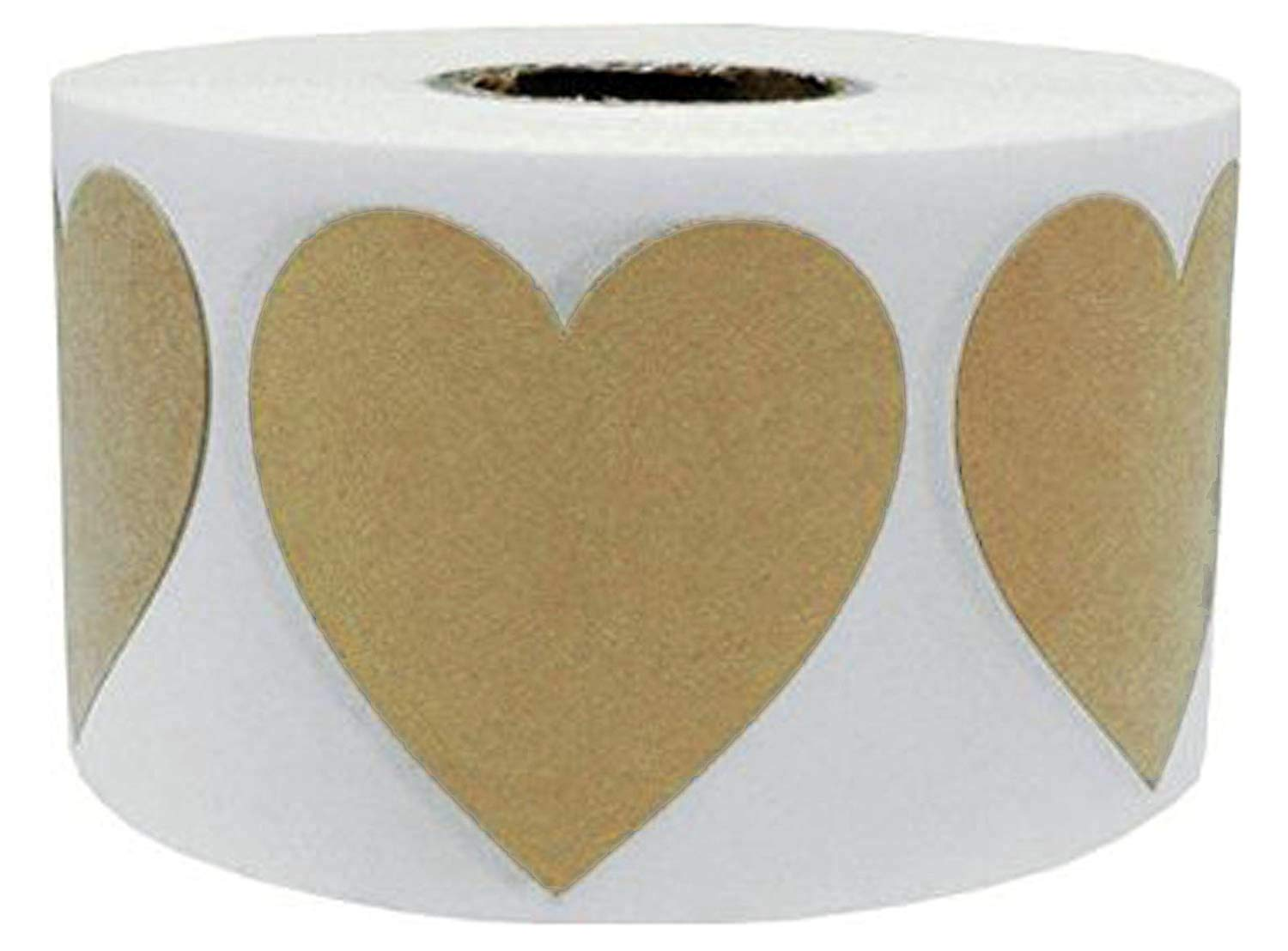 500 Total Adhesive Labels Wootile 2 Large Natural Kraft Heart Shape Stickers