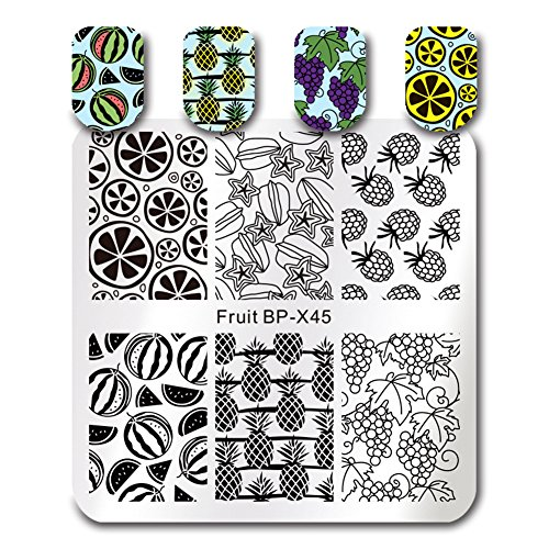BORN PRETTY 7Pcs Nail Art Stamping Template Flower Fruit Summer Manicure Print DIY Image Plate with Stamper Kit by Born Pretty (Image #6)