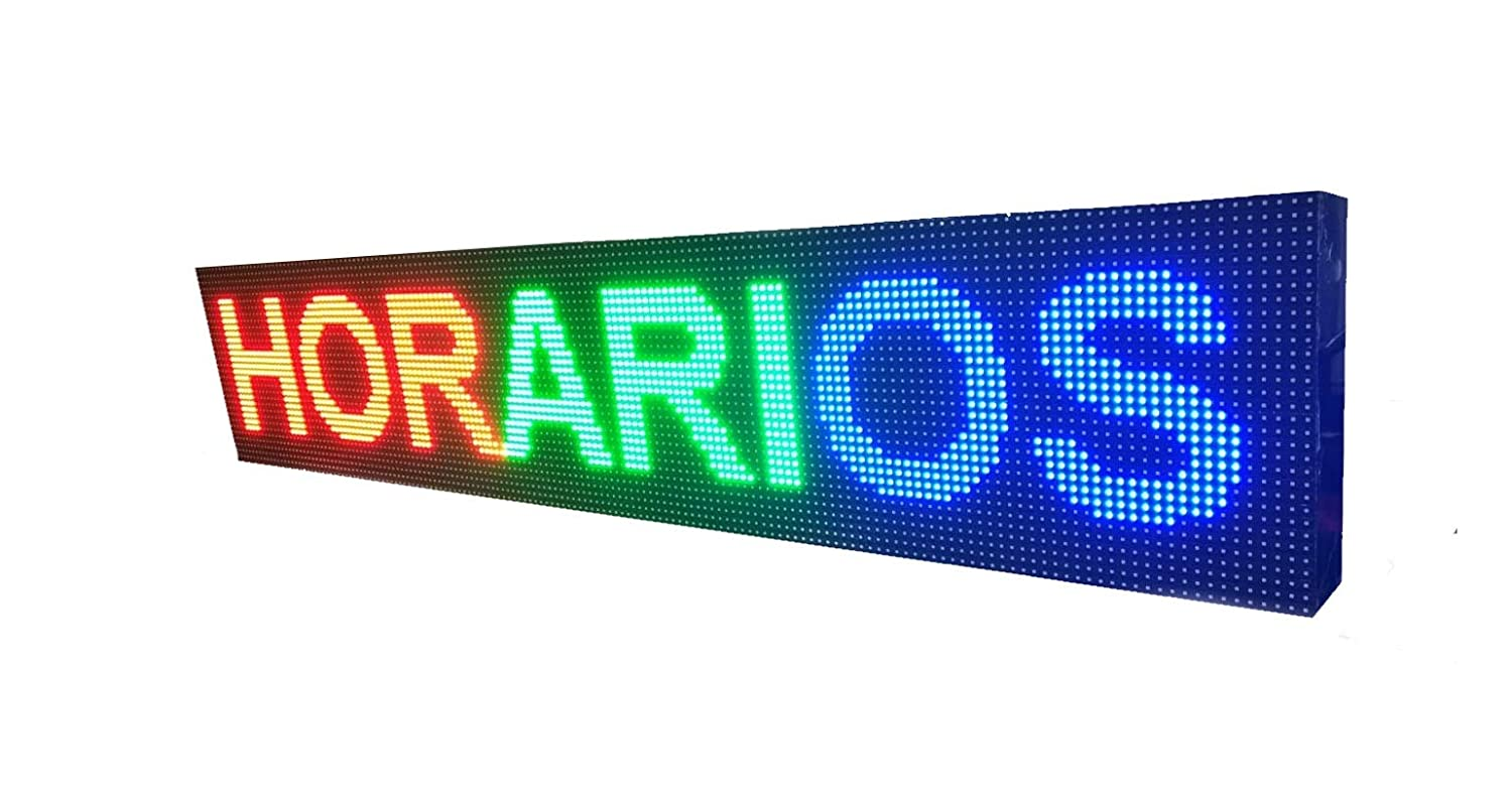 CARTEL LED PROGRAMABLE LETRERO LED PROGRAMABLE PANTALLA LED PROGRAMABLE (96 * 16 cm, AZUL) ROTULO LED PROGRAMABLE CARTEL ELECTRÓNICO ANUNCIA TU ...
