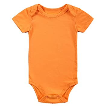 a304656a59ed0 Amazon.com : USfafa New Newborn Baby Toddler Climb Clothes Solid Color  Orange Short Sleeve Baby Onesies : Baby