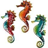 HONGLAND Metal Seahorse Wall Decor Outdoor Indoor Art Sculpture Hanging Decorations Set of 3 for Home Garden Bedroom