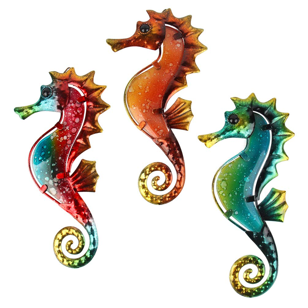 HONGLAND Metal Seahorse Wall Decor Outdoor Indoor Art Sculpture Hanging Decorations Set of 3 for Home Garden Bedroom