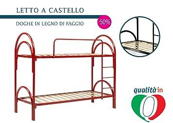 Letto A Castello Ferro Rosso.Inmaterassi Letti A Castello In Ferro Rosso Scomponibili 100