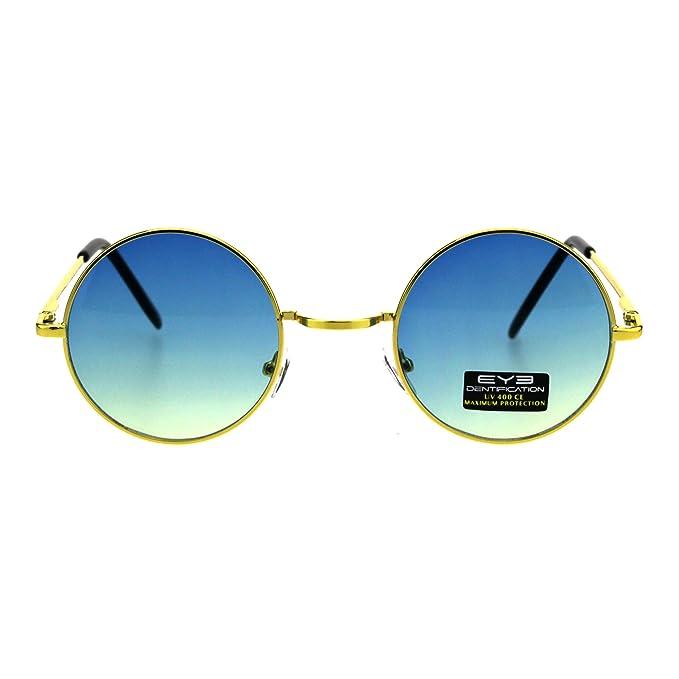 31d6c4b2b34 Gold Round Circle Frame Sunglasses Spring Hinge Blue Yellow Ombre Lens UV  400