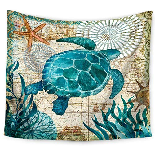 ECONIE Sea Turtle Tapestry Marine Life Bohemian Tapestry Mandala Wall Hanging Tapestry Wall Art Decor, Beach Throw Table Runner/Cloth 51