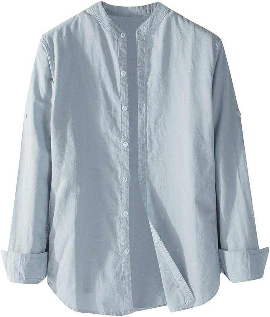 ShallGood Camisa Hombre Lino Blusa Casual De Manga Larga Blusa Suelta Casual Cuello Alto Transpirable Top Color S/ólido Trabajo Camisa Shirt