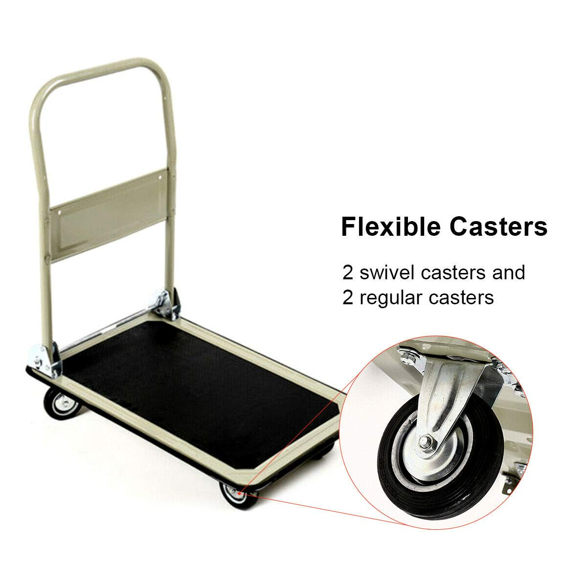 Gray 330lbs Platform Cart Folding Foldable Dolly Push Hand Truck Moving Warehouse Transport Heavy Large Loads(U.S. Stock) by Heize best price (Image #5)