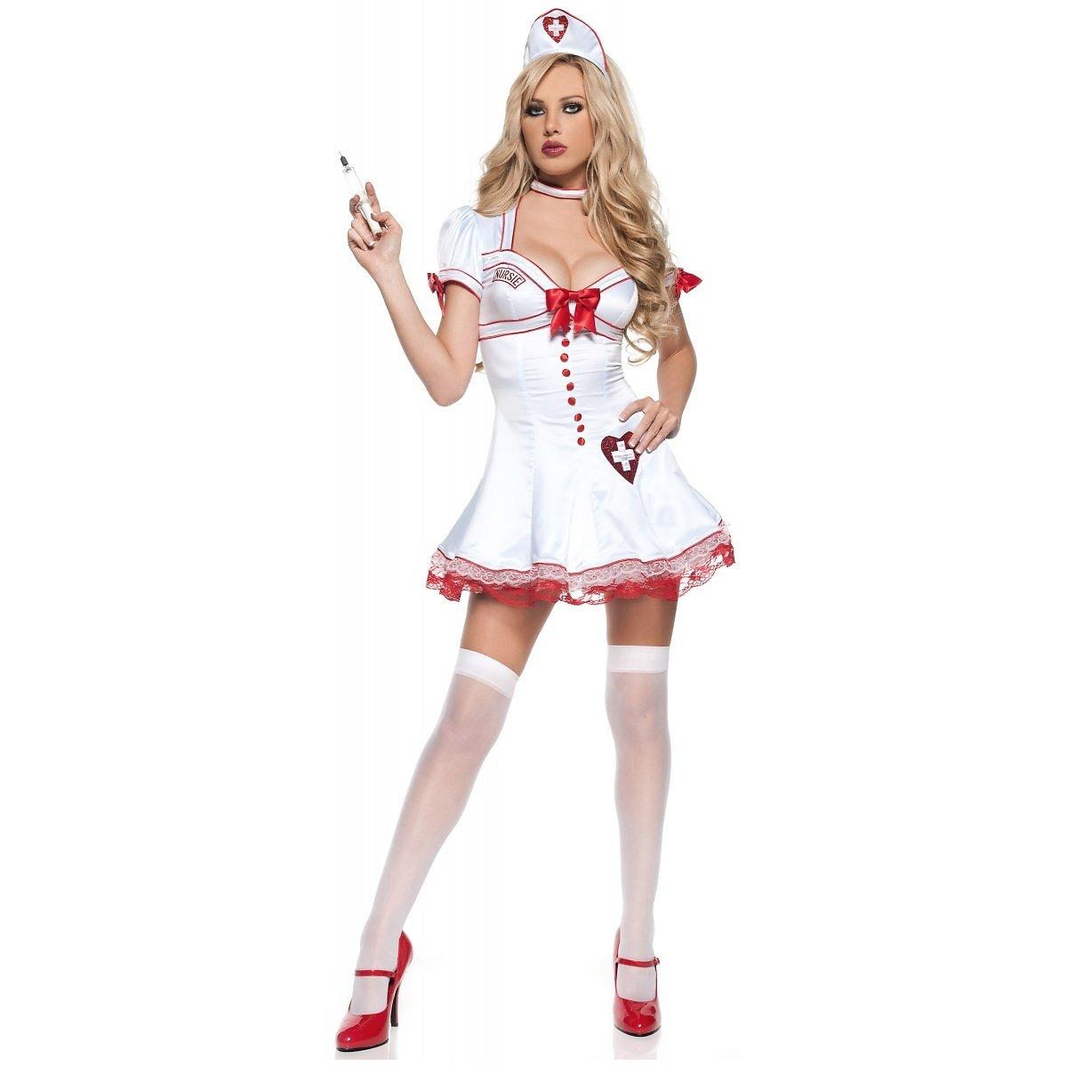 Amazon.com: Diseñador Costume. 3pc nursie Costume, S, Blanco ...