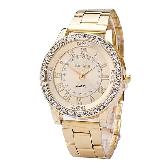 JiaMeng Reloj de Pulsera de Cuarzo analógico de Acero Inoxidable con Diamantes de imitación de Cristal para Hombre (Dorado): Amazon.es: Ropa y accesorios