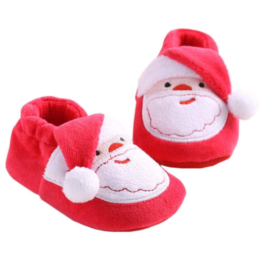 AOFITEE Baby Girls Boys Christmas Slipper Toddler Santa Reindeer Boots Warm Fur Shoes