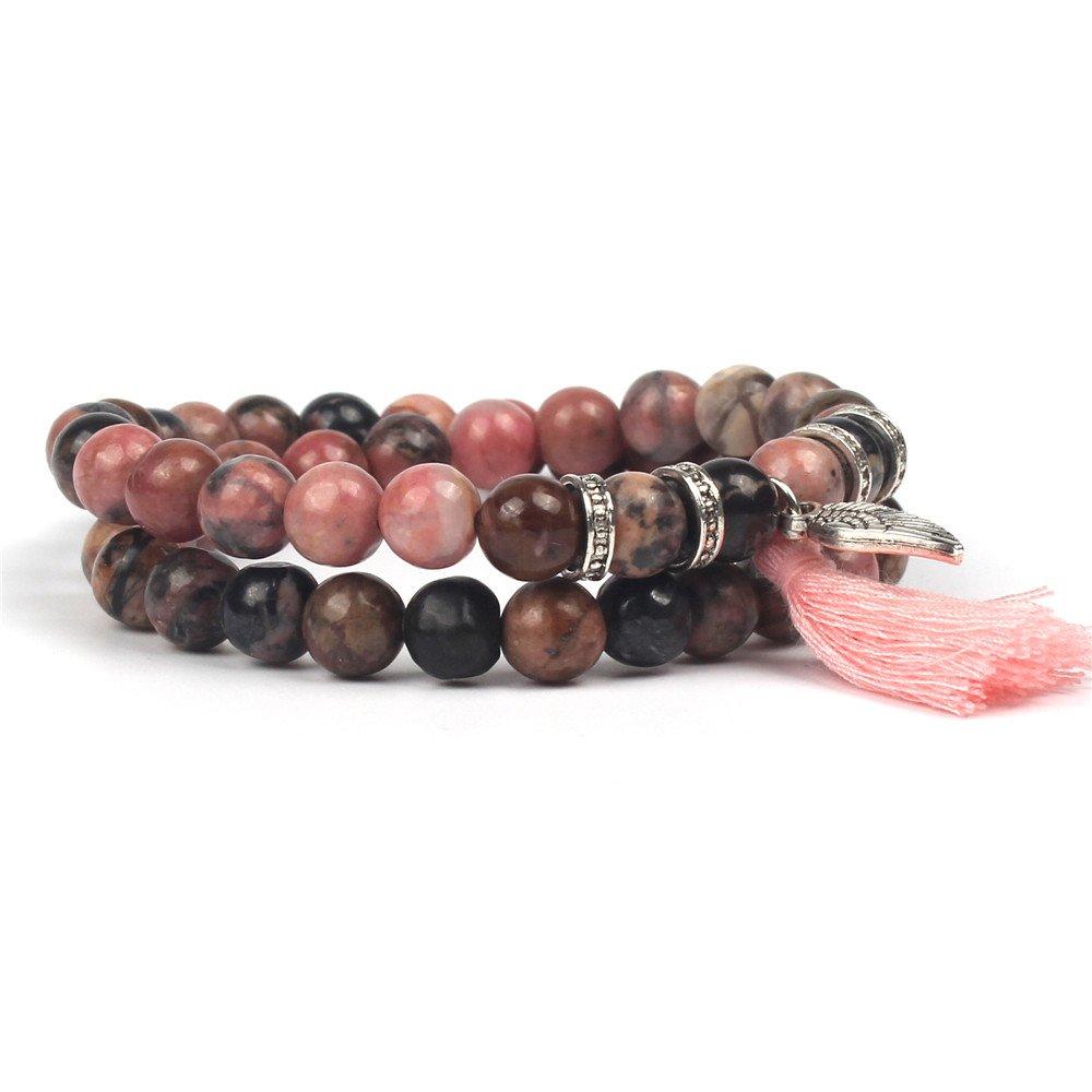 Shinus Mala Beads Bracelet Double Wraps Tassel Bohemia Natural Stone Healing Power Handmade Silver Charm for Prayer