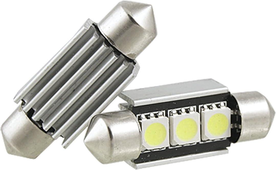 Wadoy 2 x 36mm 3 SMD 5050 LED Canbus Error Free Dome Festoon Light w Heatsink