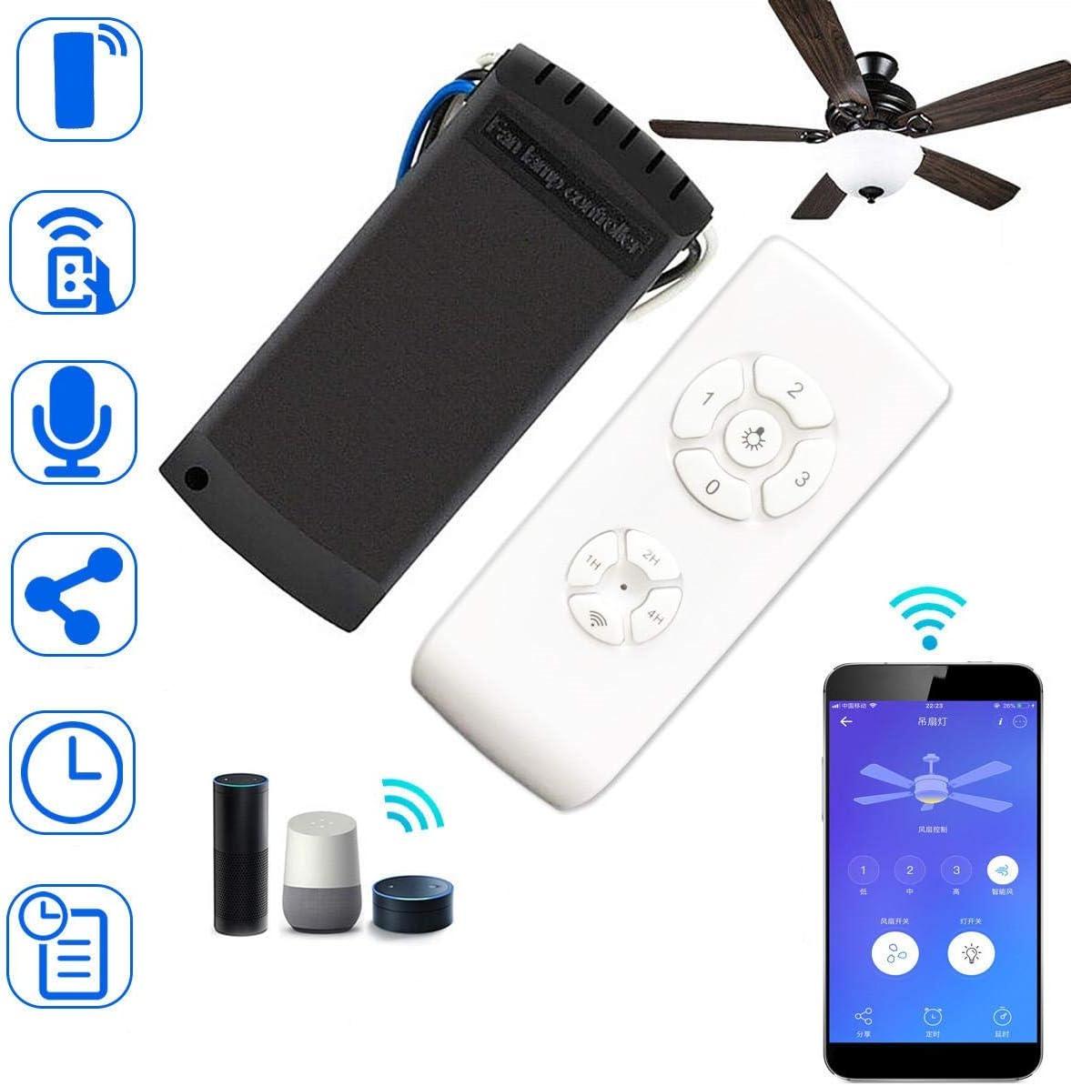 L.L.QYL Luz LED WiFi AC110V-240V RF App sincronización Remoto inalámbrico Kit Smart Switch de Control de luz de la lámpara de Techo Ventilador