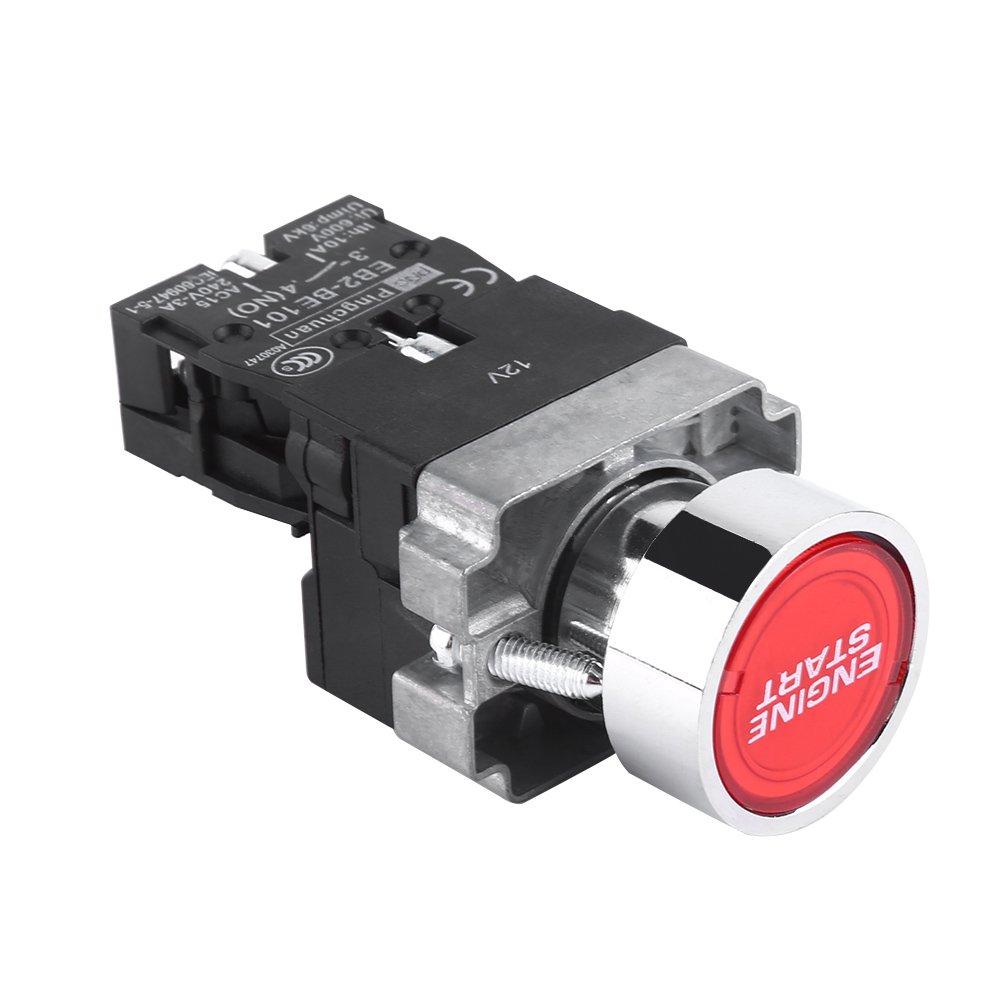 Qiilu QL01861 1Pc 12V 10A Interruttore accensione avviamento avviamento motore LED Pulsante avviamento rosso