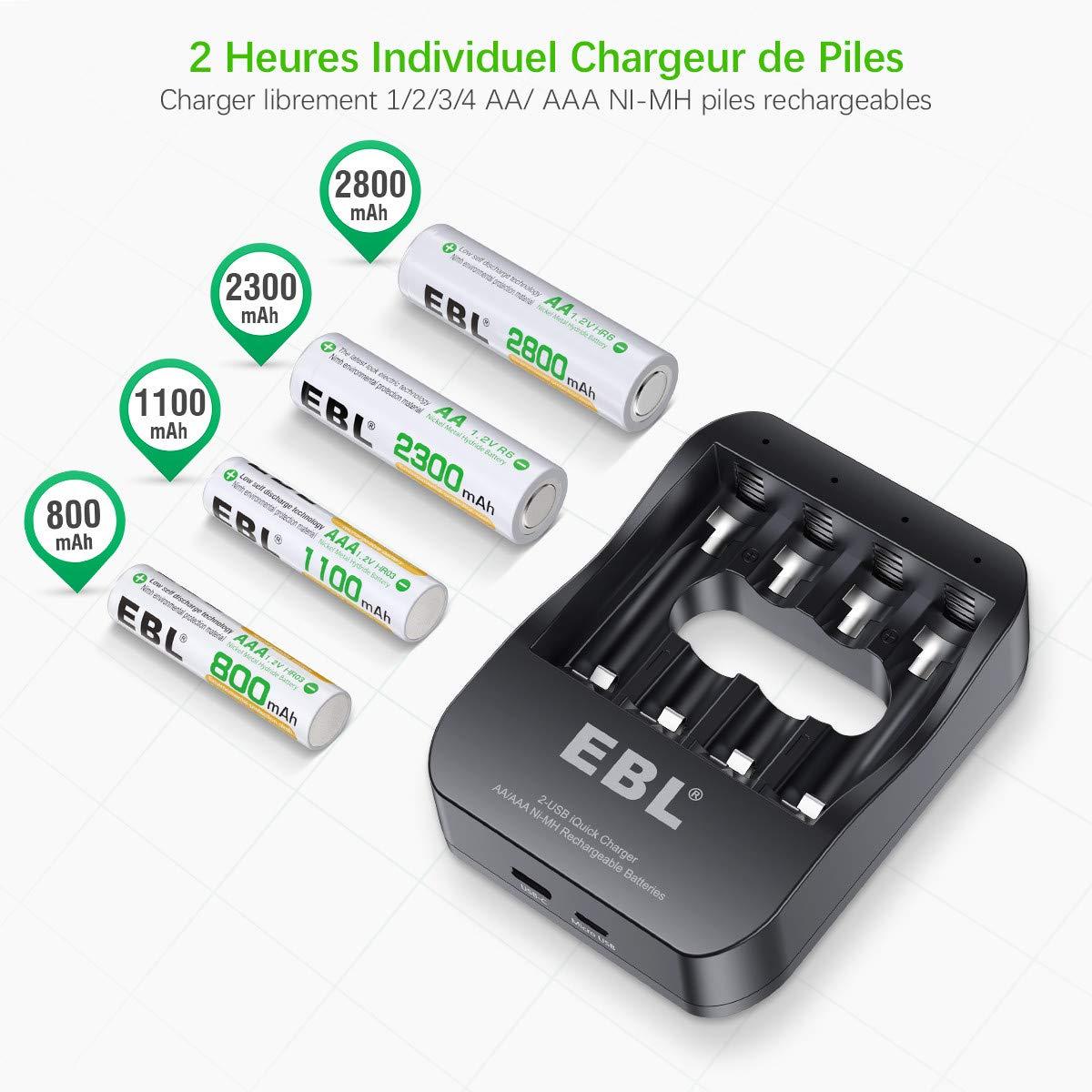 EBL Chargeur iQuick Rapide de Pile Rechargeable avec 4 Piles Rechargeables Ni-MH AAA 1100mAh
