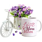 Tied Ribbons Ceramic Cycle vase with Artificial Flowers and Coffee Mug, 325 ml, Multicolor