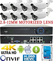 USG Business Grade H.265 4MP 8 Camera HD Security System : Ultra 4K Security NVR + 8x 4MP 2592x1520 2.8-12mm MOTORIZED LENS Bullet Cameras + 1x 4TB HDD : Apple Android Phone App
