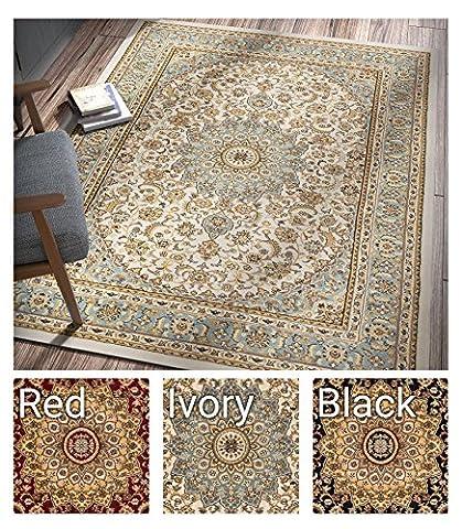 Sultan Medallion Ivory / Blue Oriental Area Rug 8 x 11 ( 7'10