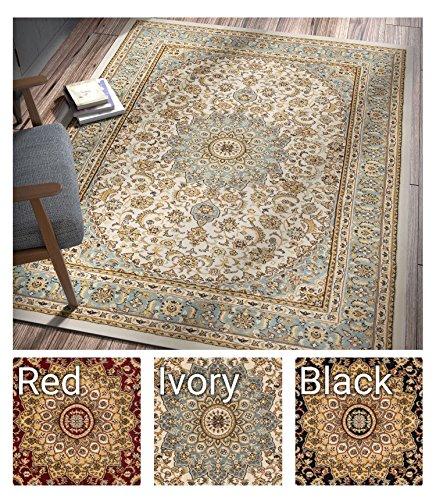8x11 Ivory Area Rugs (Sultan Medallion Ivory / Blue Oriental Area Rug 8 x 11 ( 7'10