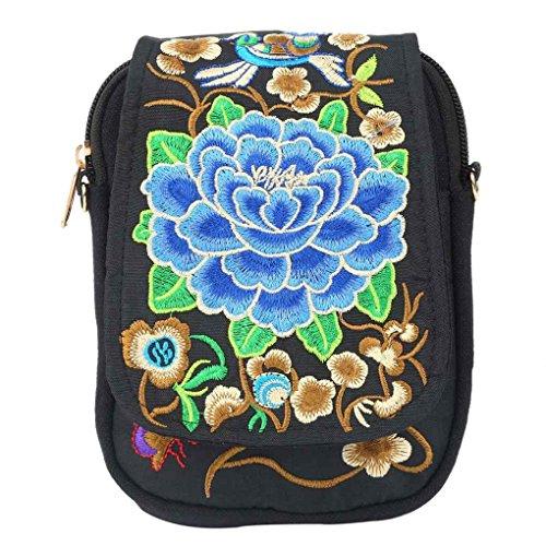 Femmes style national toile téléphone portable Pièce de monnaie Sac fille brodé Fleurs dame seule épaule Sac à bandoulière Arichtop Fleur Bleue