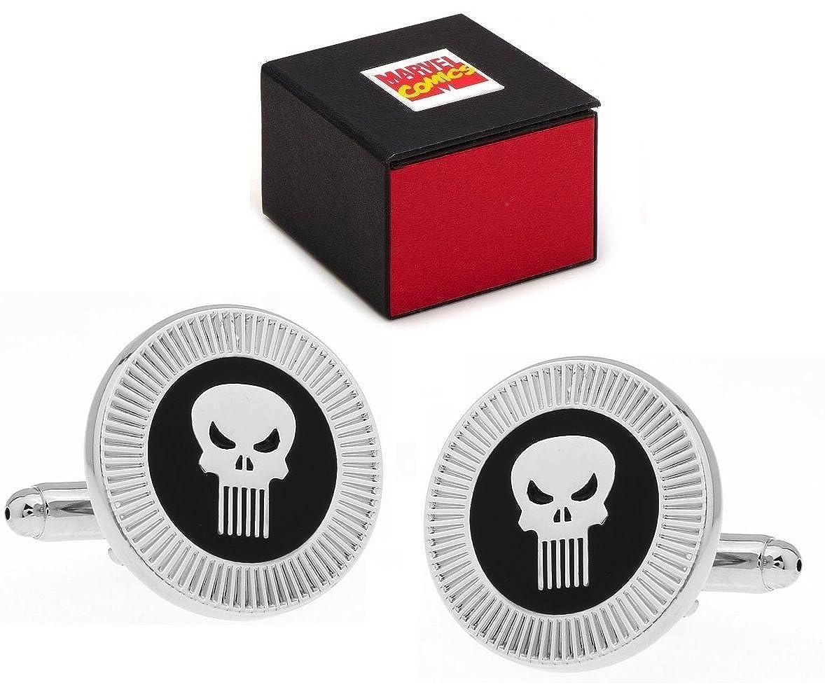 Marvel Comics Punisher Logo Superheld Silber Totenkopf Manschettenknöpfe–Manschettenknöpfe inkl. Marvel Comics Geschenkbox MB-210050