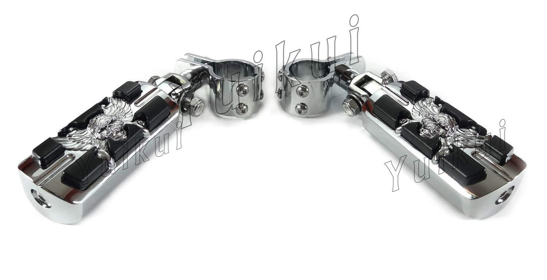 YUIKUI RACING オートバイ汎用 1-1/4インチ(32mm)/1インチ(25.4mm)エンジンガードのパイプ径に対応 スカル髑髏男性マウントハイウェイフットペグ タンデムペグ ステップ HONDA VF 750 MAGNA All years等適用   B07PX3PLFP