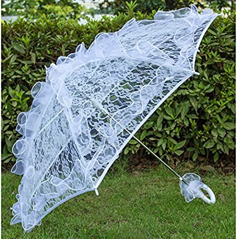 Aircee (TM) White Hollow Lace Wedding Parasol Bridal Party Decoration Props Umbrella (Theatrical Umbrella)