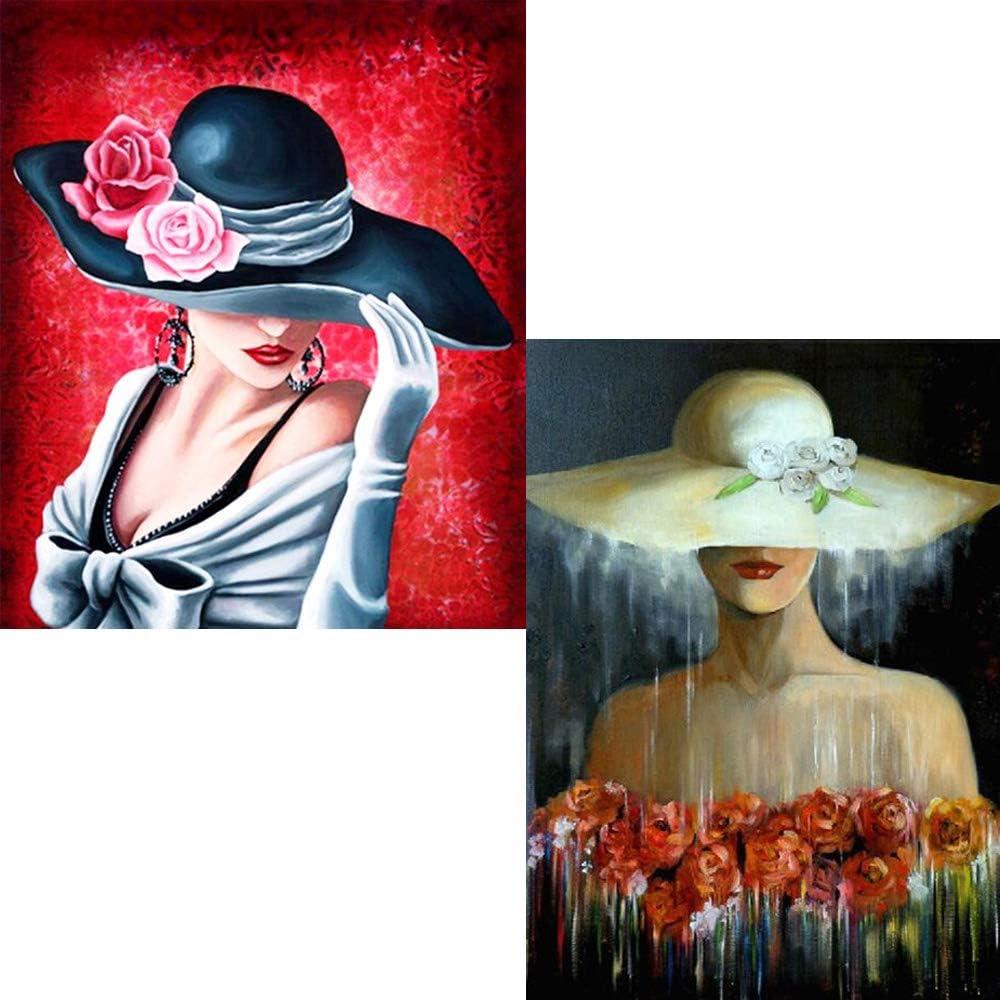 5d Diamond Embroidery Fashion Hat Beauty Women Diamond Painting Cross Stitch Rhinestone Mosaic Modern Wall Art Pictures 2pcs in a Box