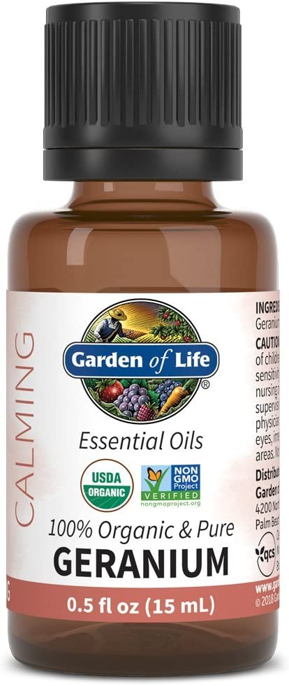 Garden of Life Essential Oil, Geranium 0.5 fl oz (15 mL), 100% USDA Organic & Pure, Clean, Undiluted & Non-GMO, for Diffuser, Aromatherapy, Meditation - Balance, Relaxation, Calming, Floral, Aromatic