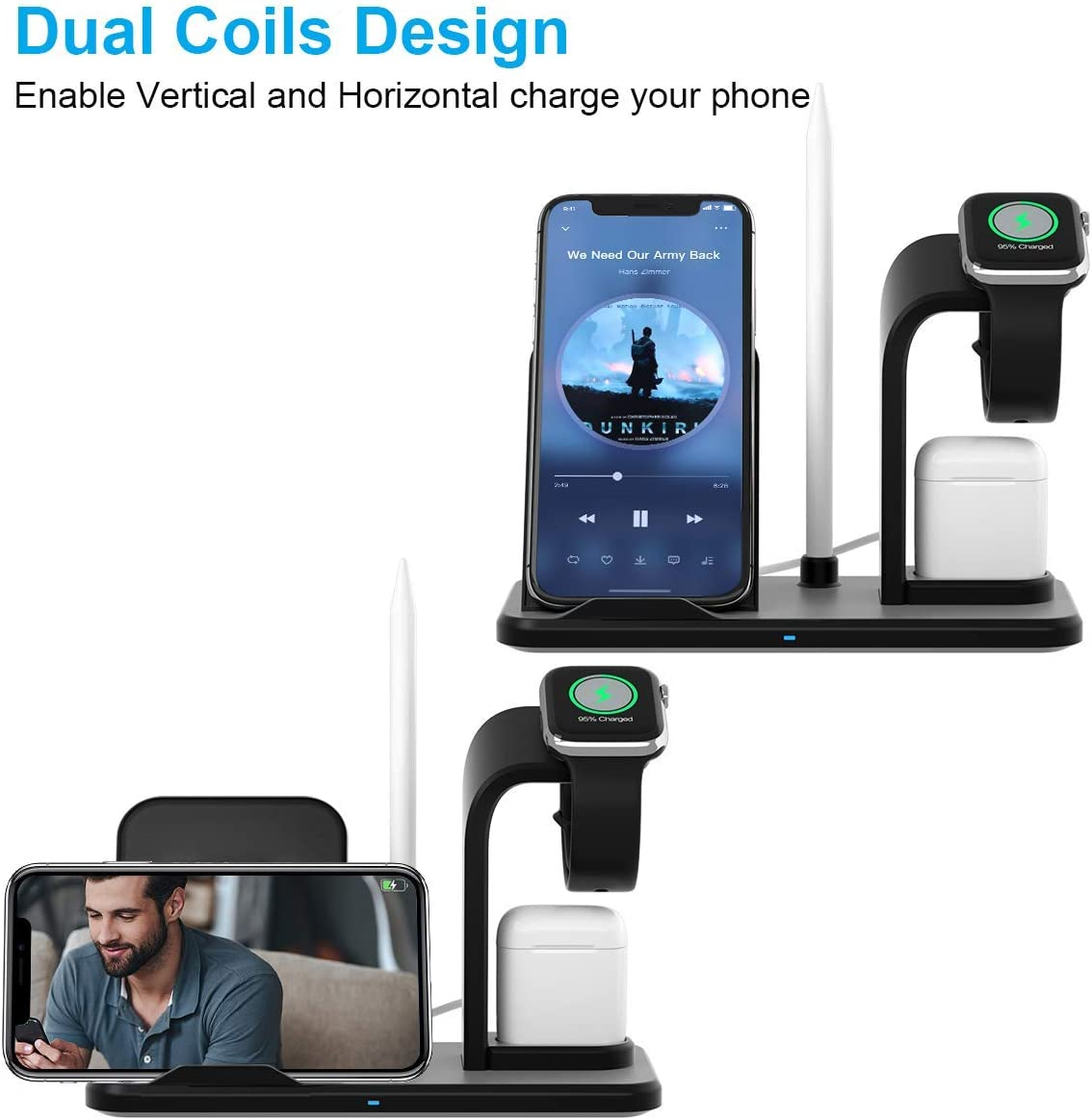 YAYY Soporte Base de Carga para iPhone AirPods Watch